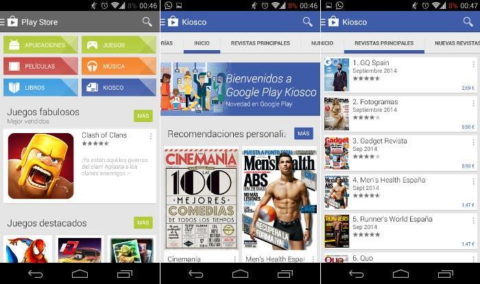 """La sección """"Kiosco"""" de Play Store ya está disponible en España"""