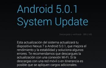 Android 5.0.1 Lollipop llega a la Google Nexus 7 vía OTA