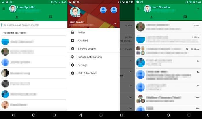 Capturas de pantalla de Hangouts con Material Design