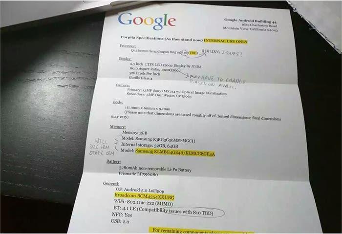 google-sony-nexus-especificaciones