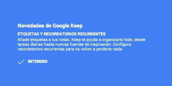 Lista de novedades en Google Keep