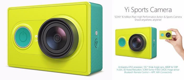 yi action camera especificaciones