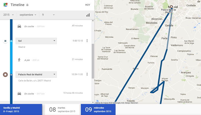 Historial Google Maps