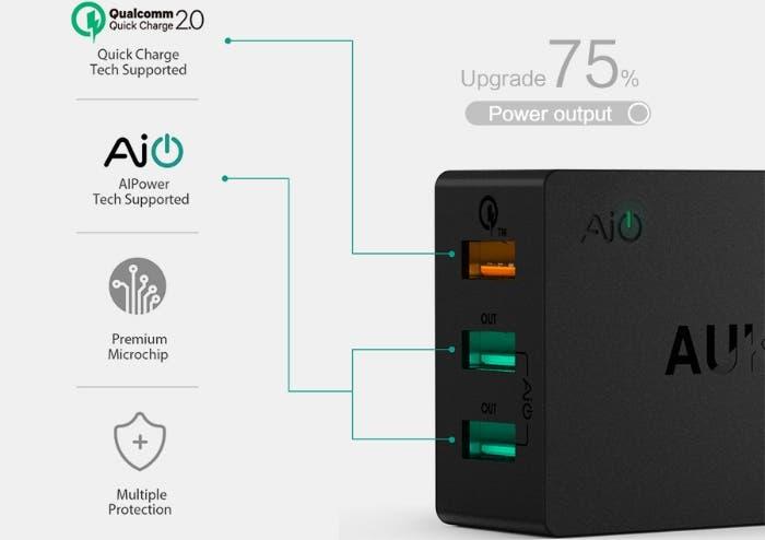 Aukey-42-W-Triple-Cargador-Rápido-Cargador-de-Pared-USB-Dual-5-V-2-4A-Cargador