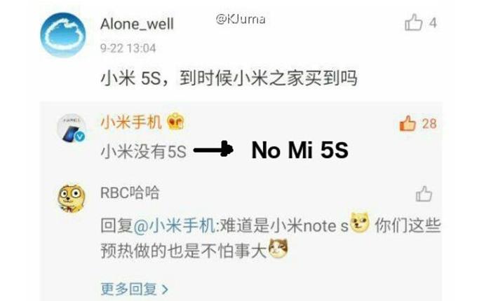 Xiaomi Mi5S no habrá
