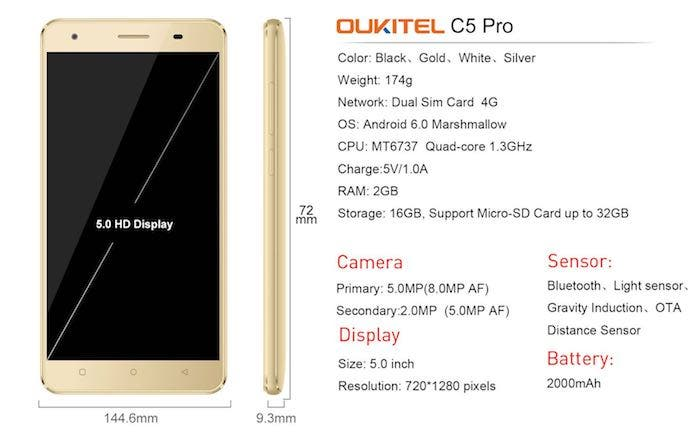 Specs Oukitel C5 Pro