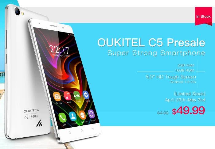 Oukitel C5 por menos de 50 euros con pantalla HD y gran batería