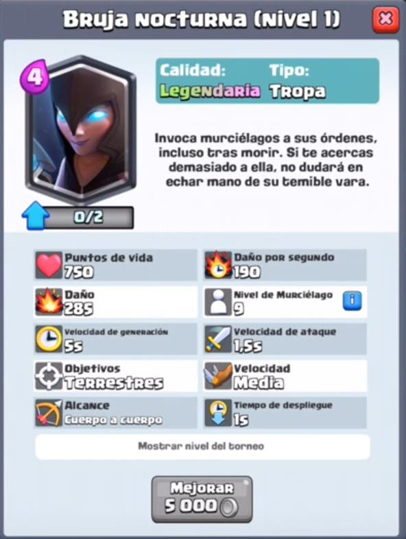 Datos Bruja Nocturna Clash Royale