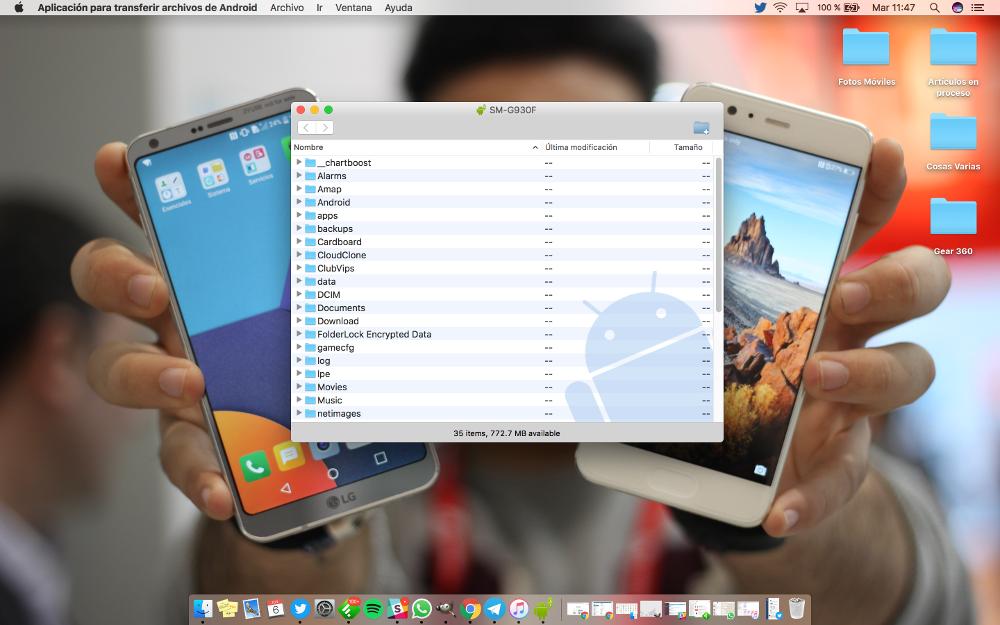 como transferir archivos android a mac