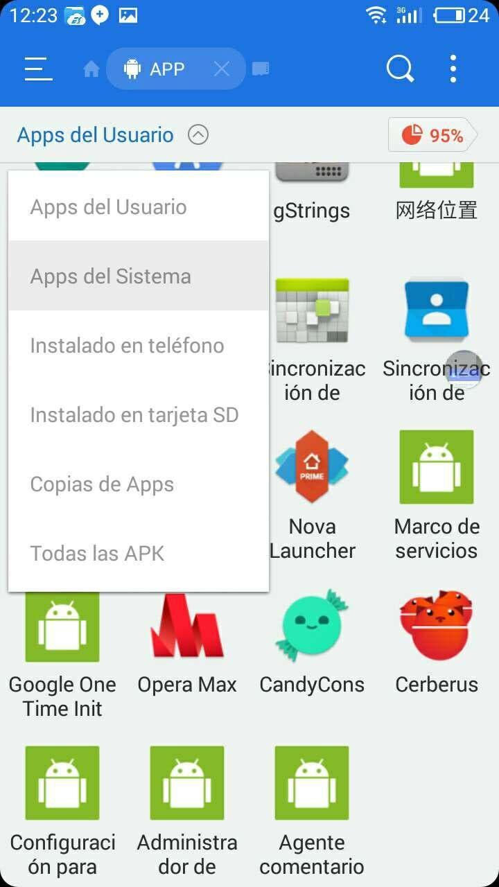 menu desplegable apps