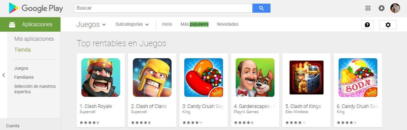 juegos mas rentables google play