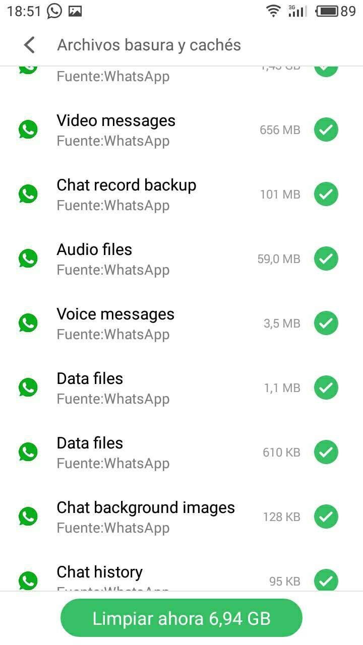 whatsapp memoria ocupada