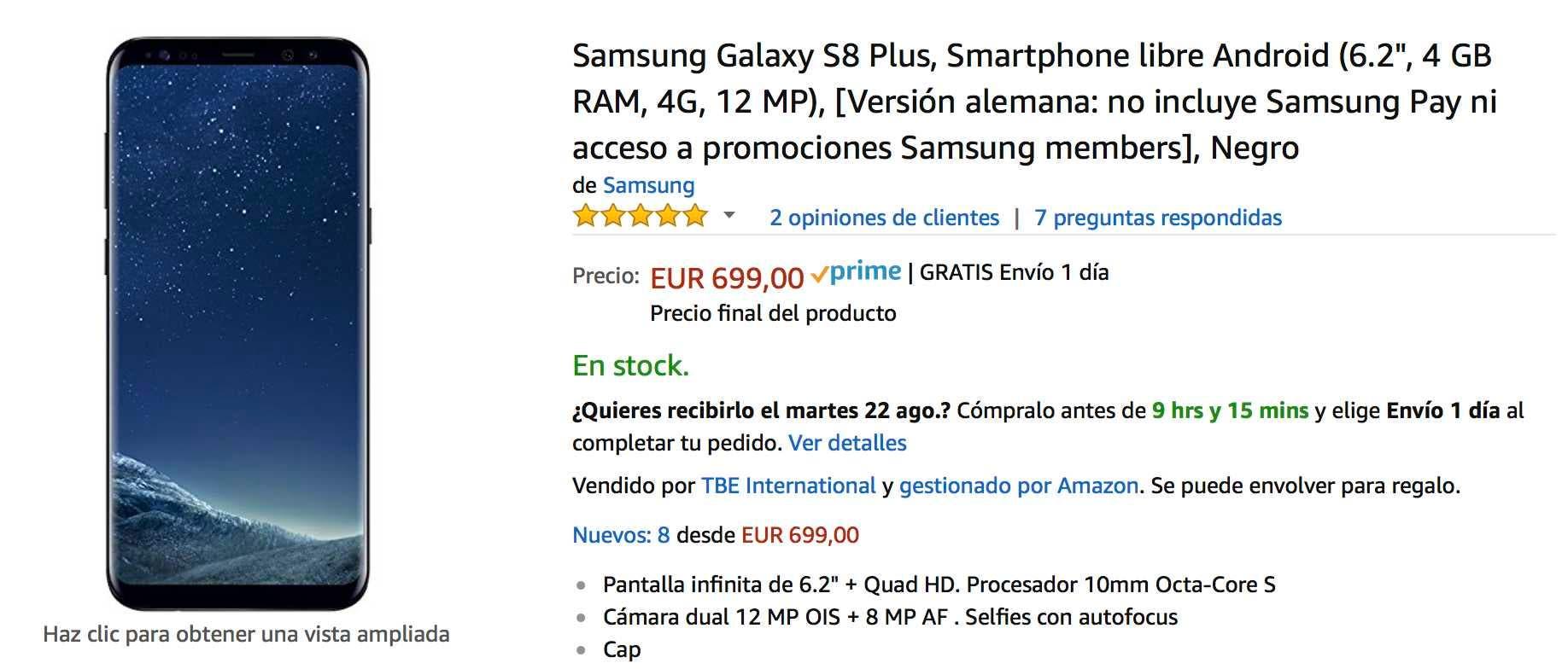 galaxy s8 plus oferta amazon