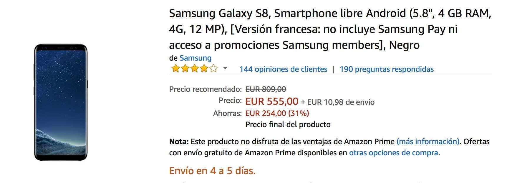 oferta del samsung galaxy s8 en amazon