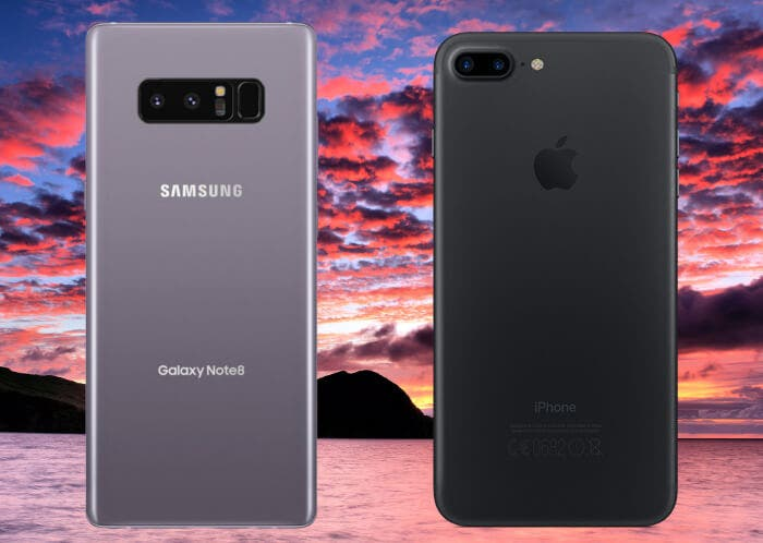 Samsung Galaxy Note 8 vs iPhone 7 Plus: una comparativa de altos vuelos