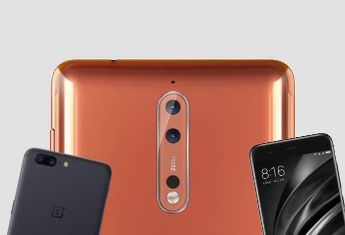 Nokia 8 vs Xiaomi Mi6 vs OnePlus 5: una guerra de los más baratos de la gama alta