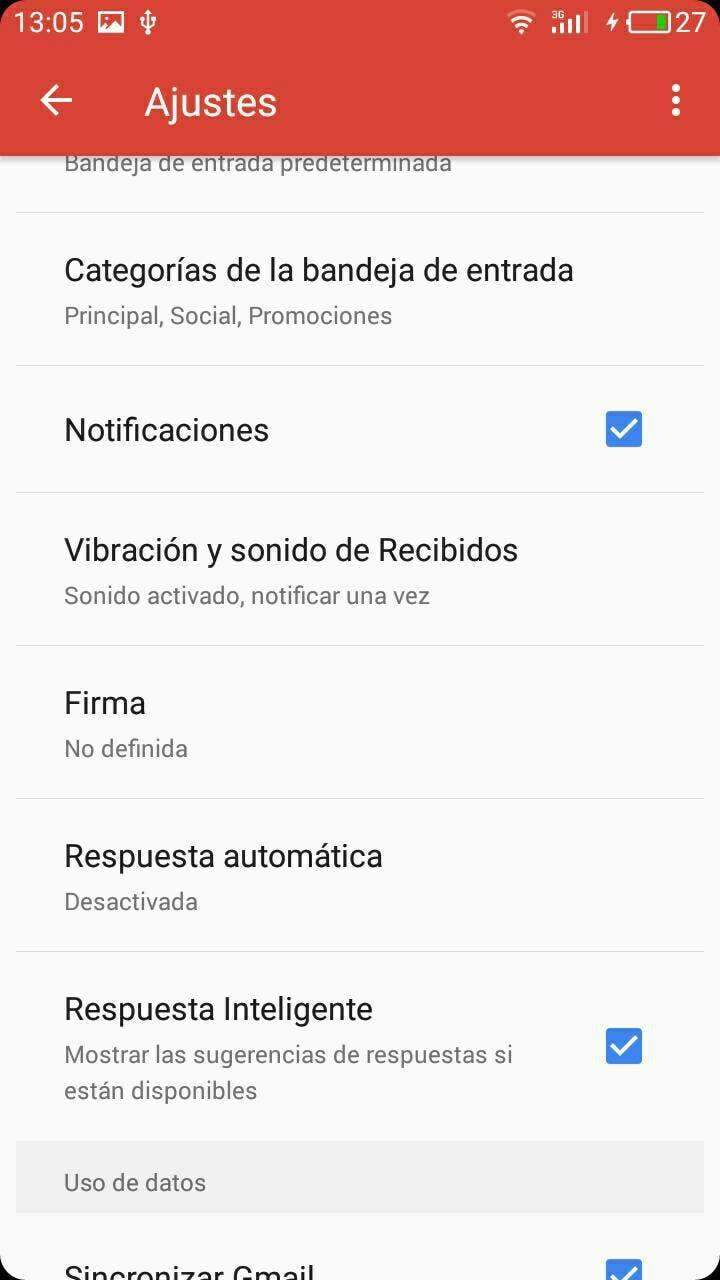 configuración gmail Android