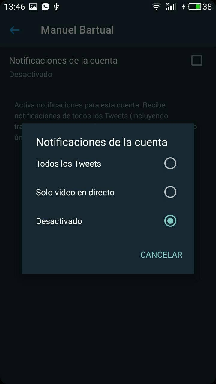 notificaciones de twitter