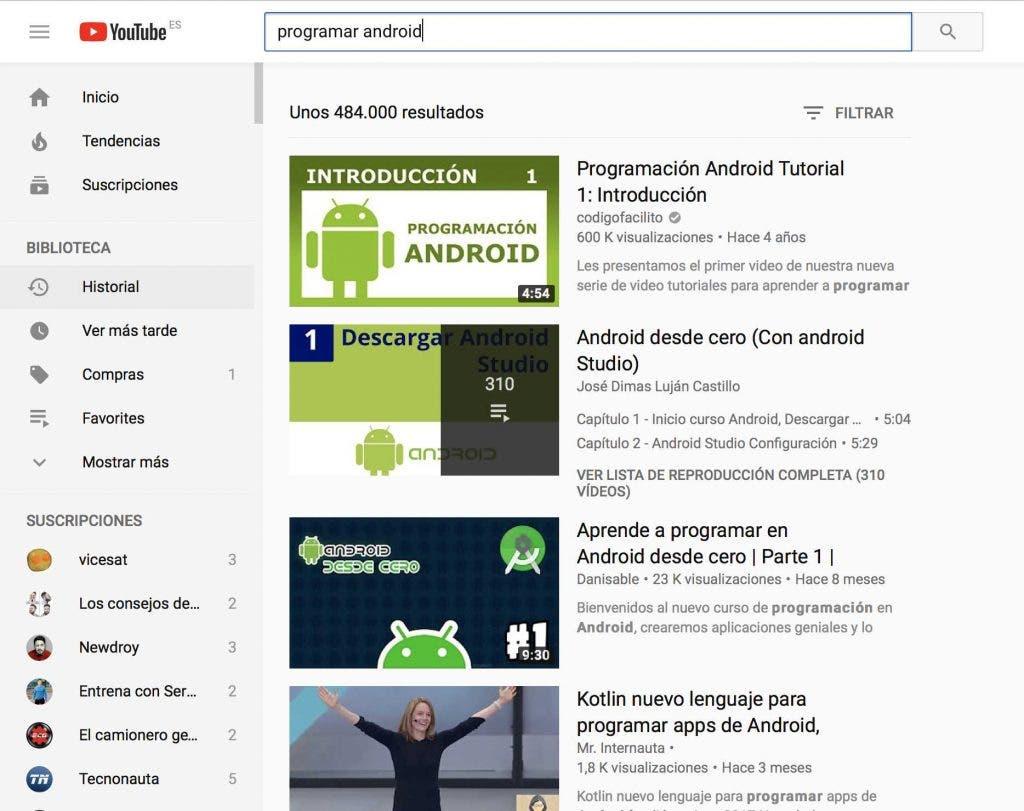 cursos Android gratis youtube
