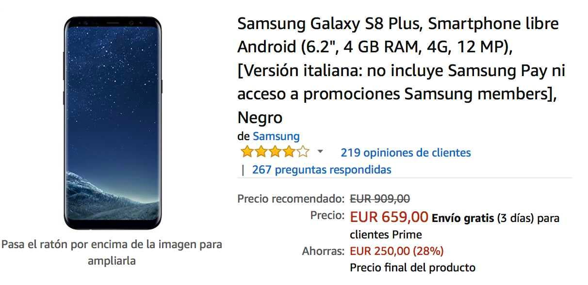 oferta del samsung galaxy s8+ en amazon