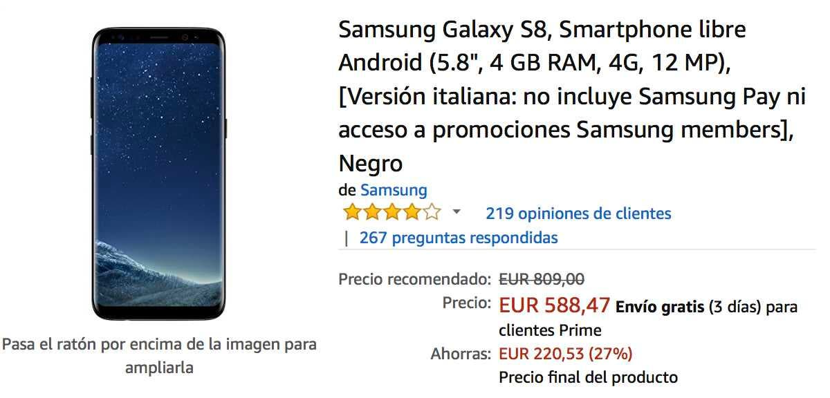 oferta del samsung galaxy s8 en amazon