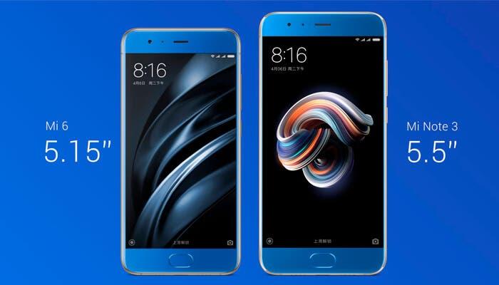 Xiaomi Mi Note 3 y Mi6