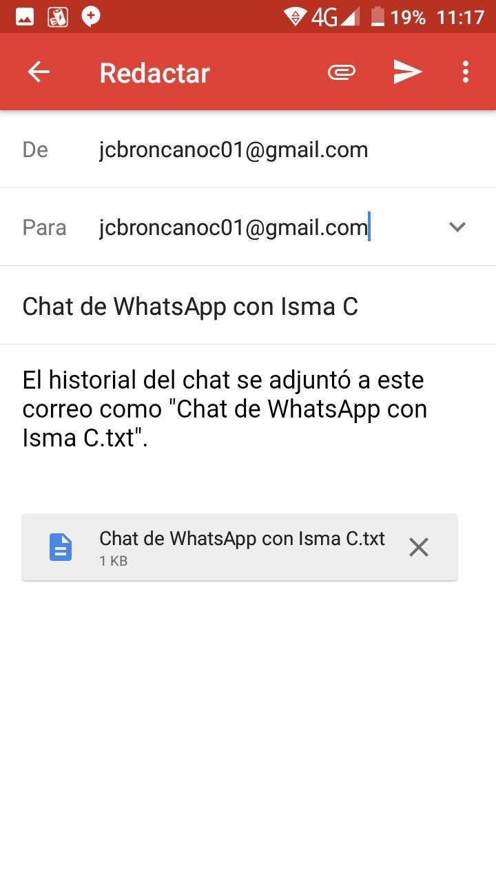 correo conversacion whatsapp