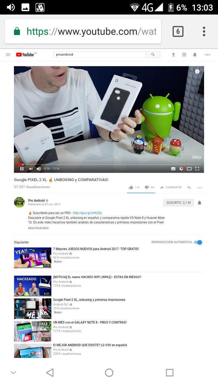 version escritorio youtube android
