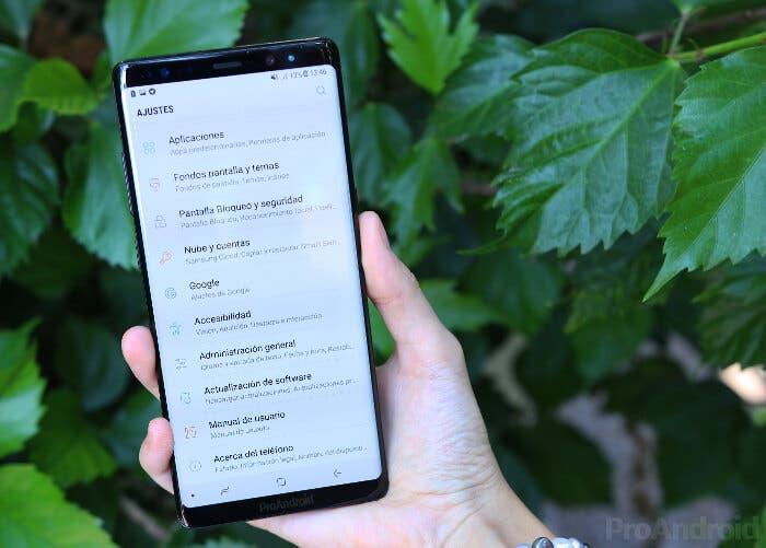 Galaxy Note ocho ajustes