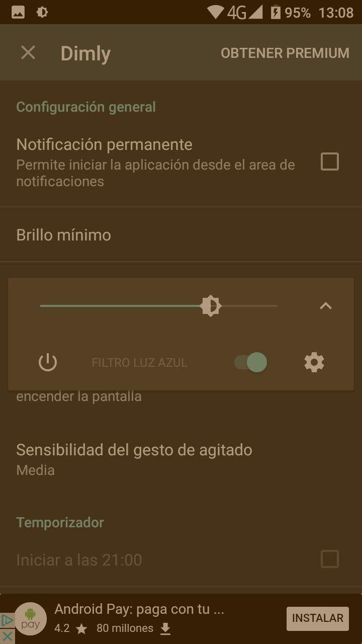 filtro de luz nocturna en android