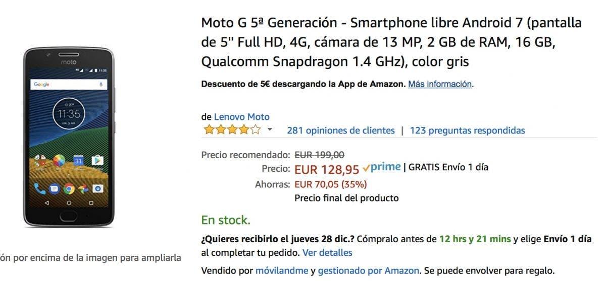 oferta del Moto G5 en Amazon