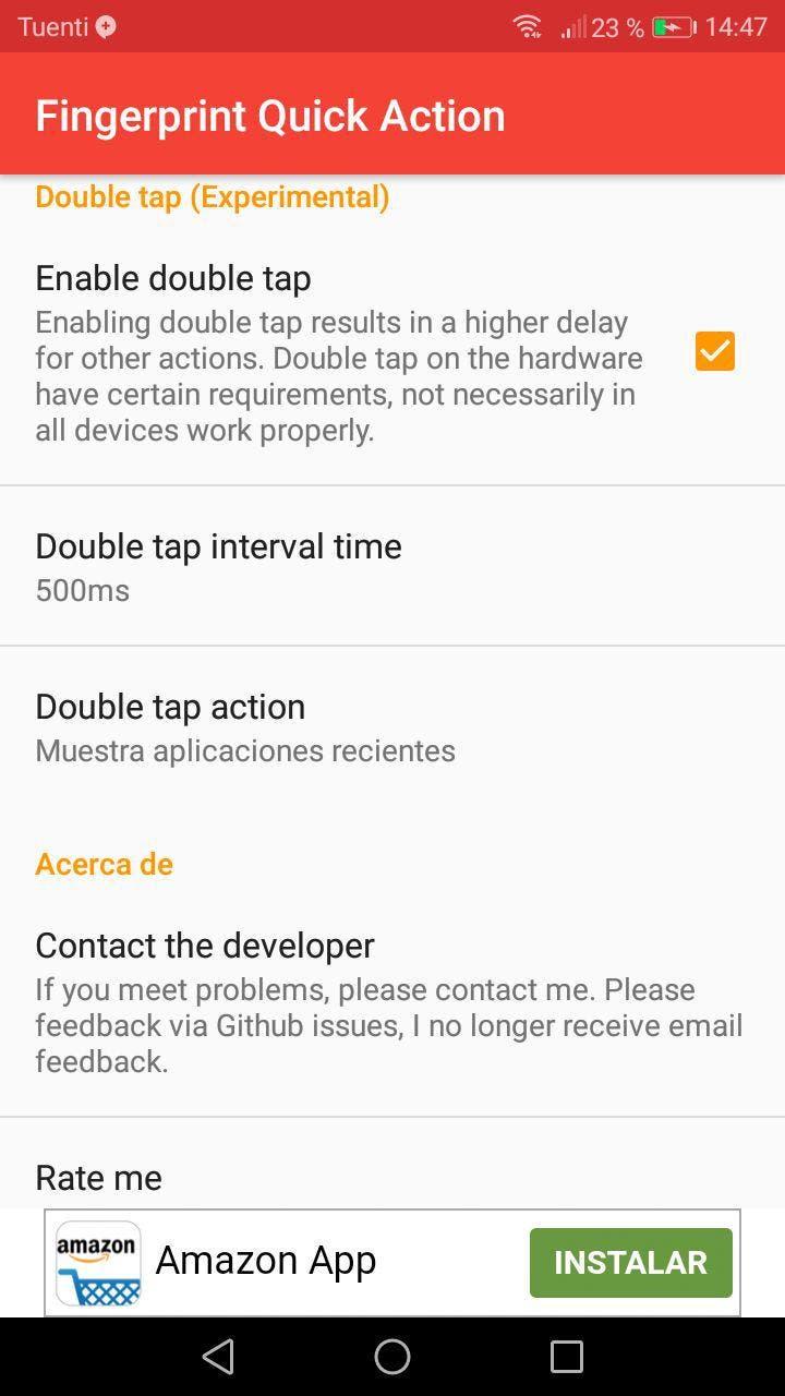 personalizar acciones en android con la huella