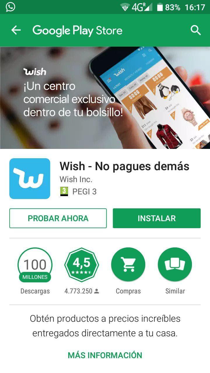 Wish aplicacion instantánea