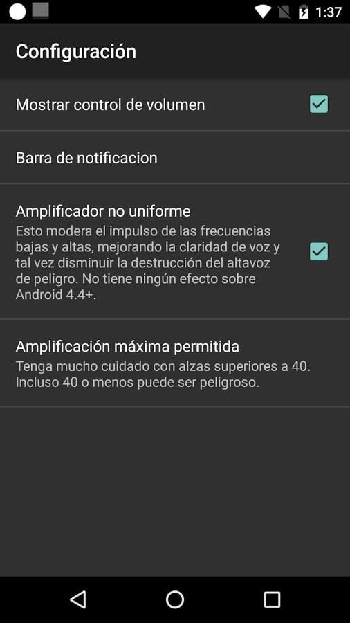 aumentar el volumen en Android