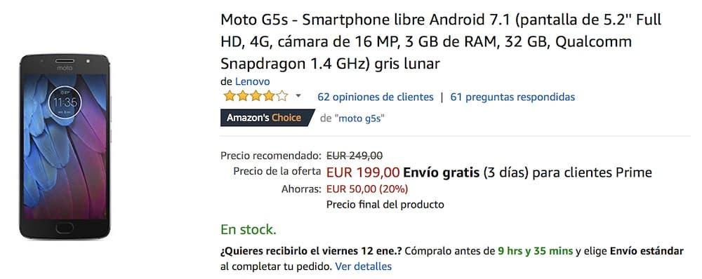 oferta del Moto G5s en Amazon