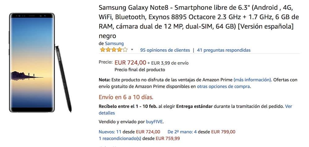 oferta del samsung galaxy note 8