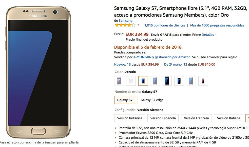 oferta del Samsung Galaxy S7
