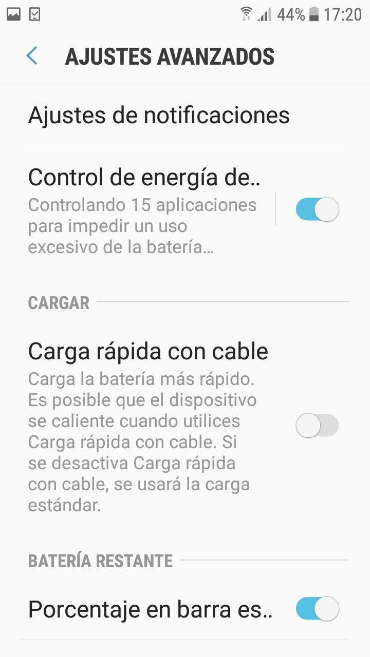 desactivar la carga rápida en Samsung