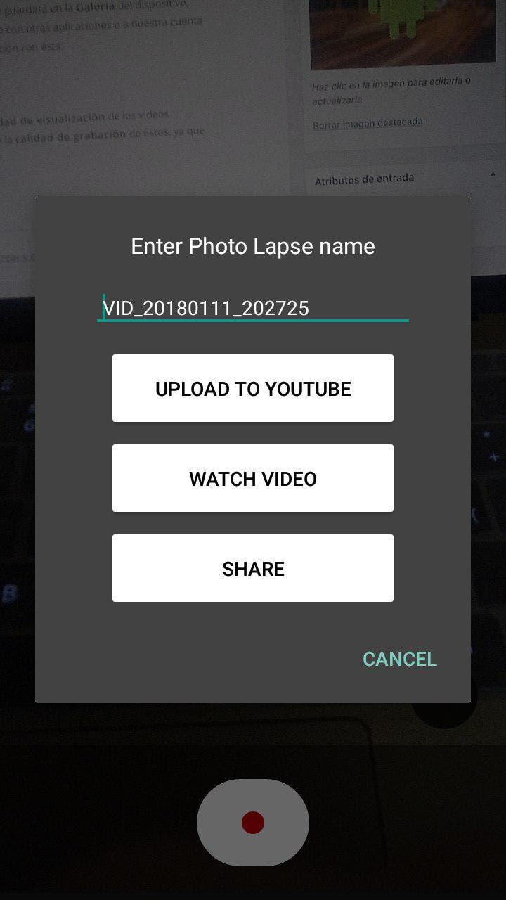grabar un time lapse en Android
