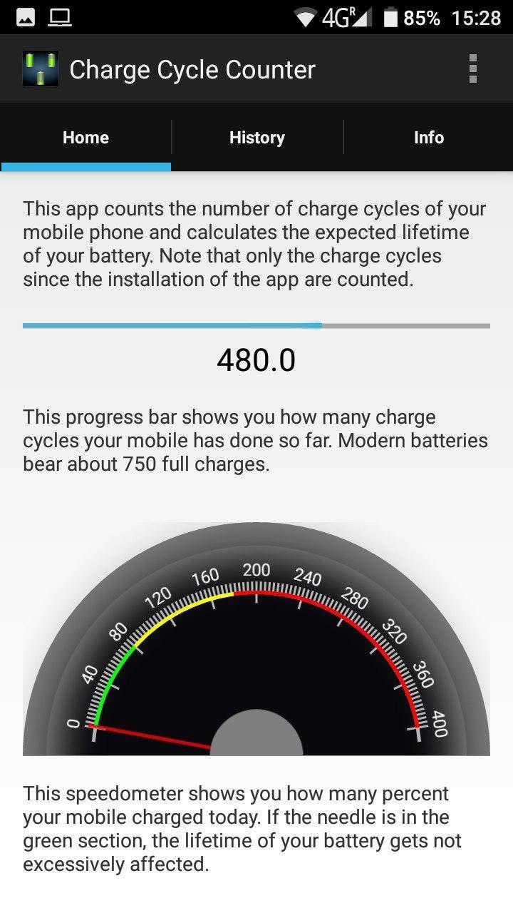 contar ciclos de carga en android