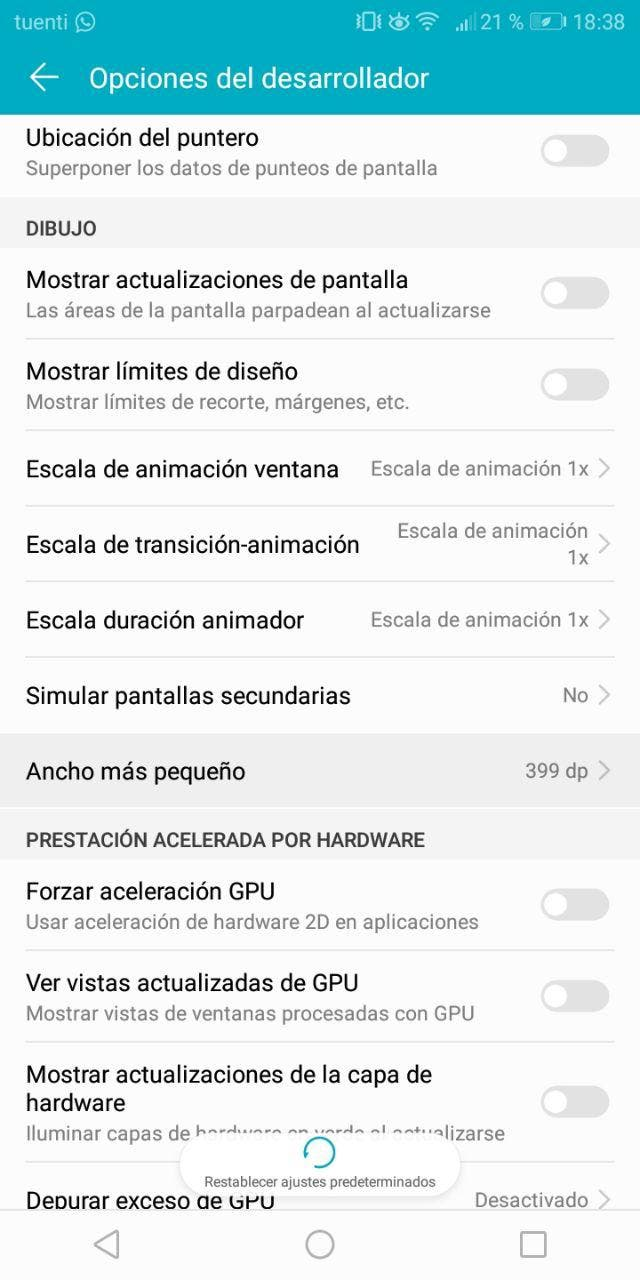 cambiar los DPI en Android