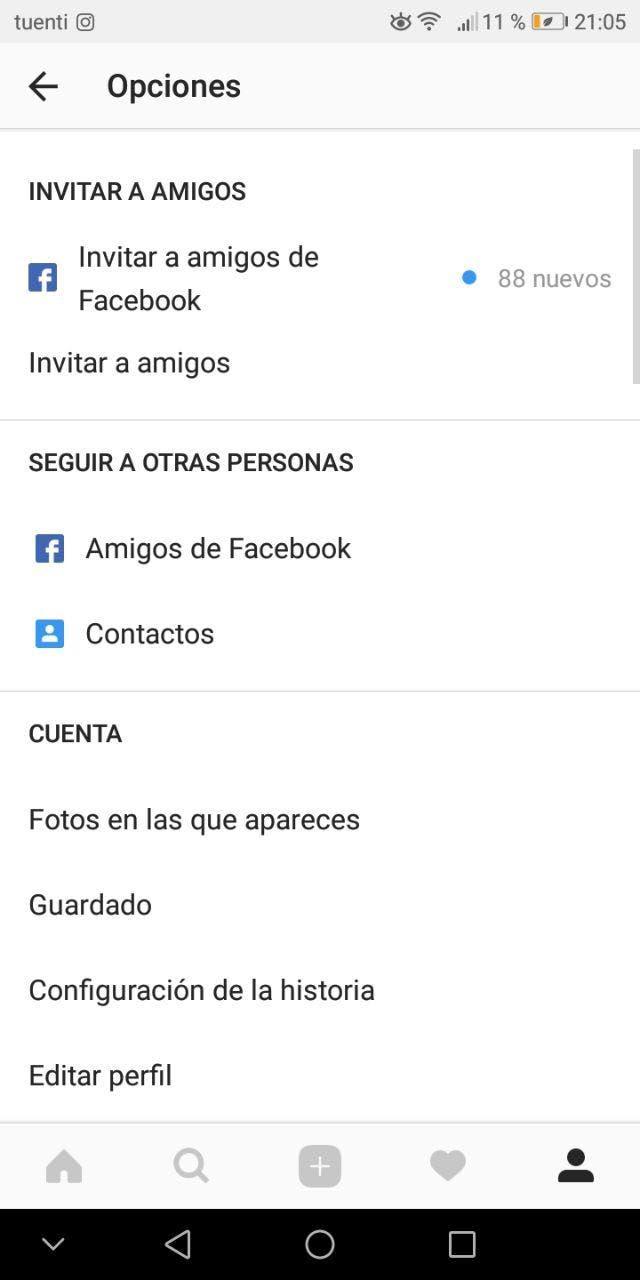 opciones de privacidad de instagram