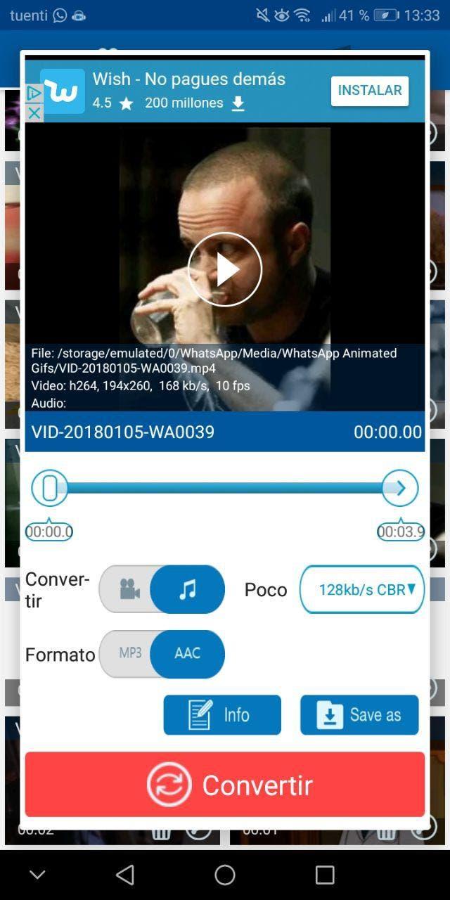 convertir video en audio en Android