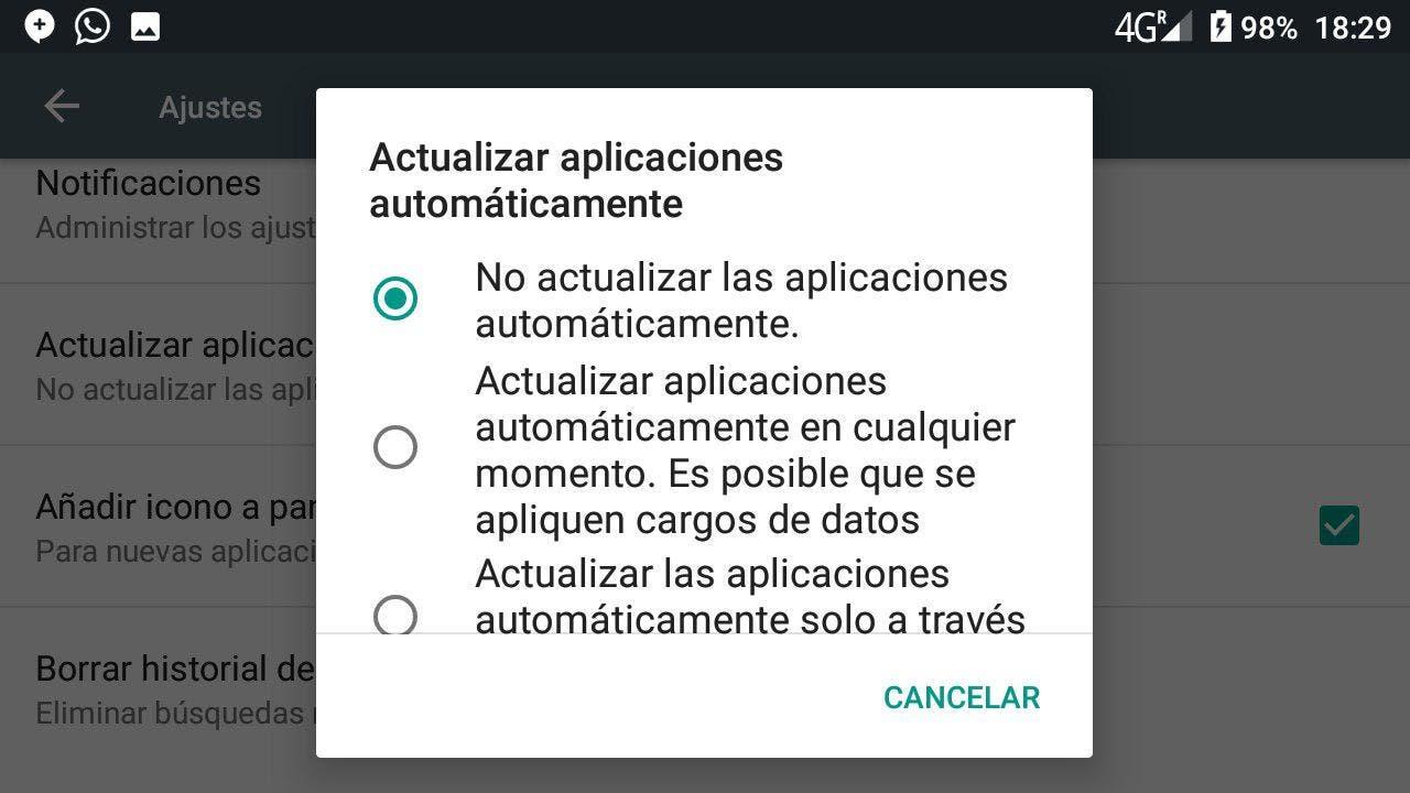Desactivar las actualizaciones automáticas del play store