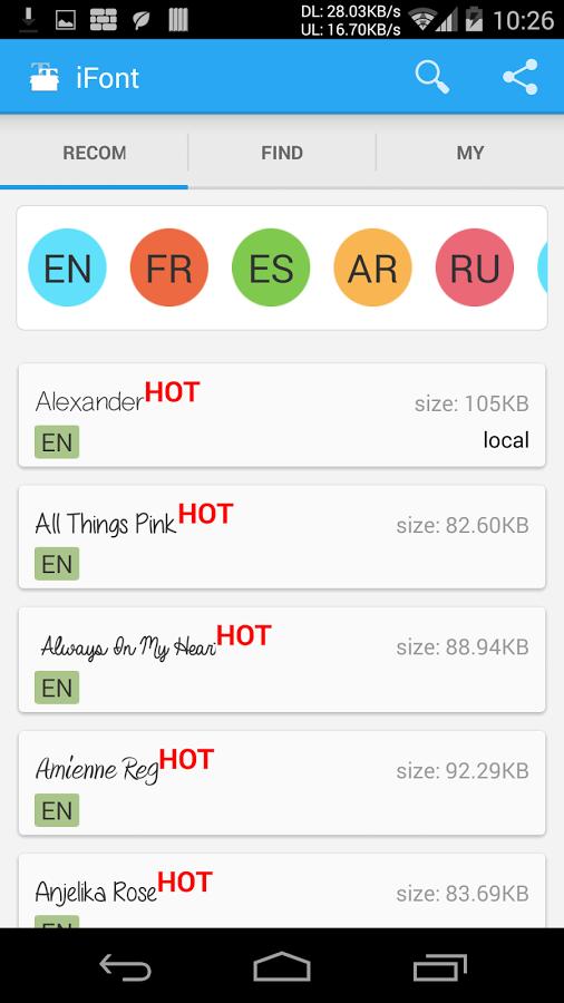 cambiar fuente en android