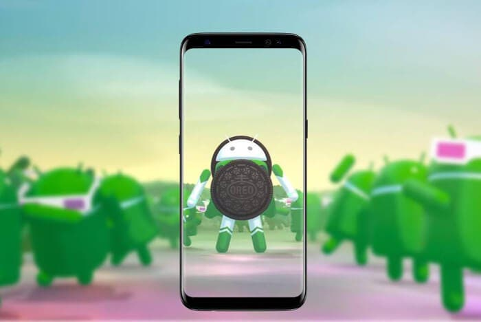 Galaxy s8 con logo de Android oreo