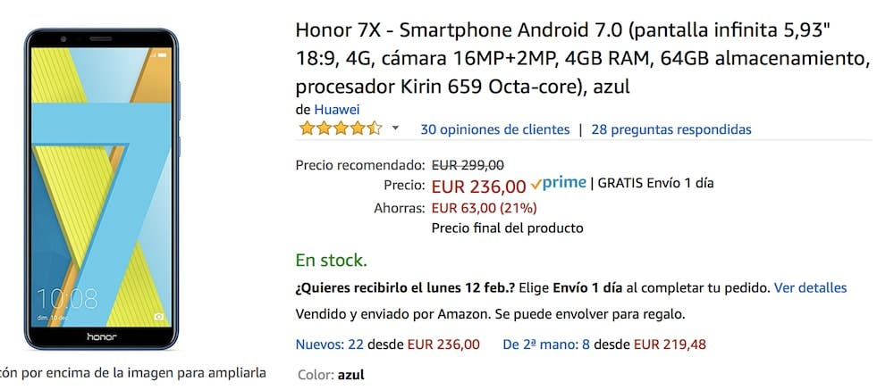 oferta del Honor 7x en Amazon