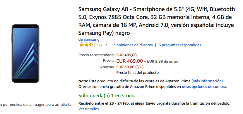 oferta del samsung galaxy a8 mas barato en amazon