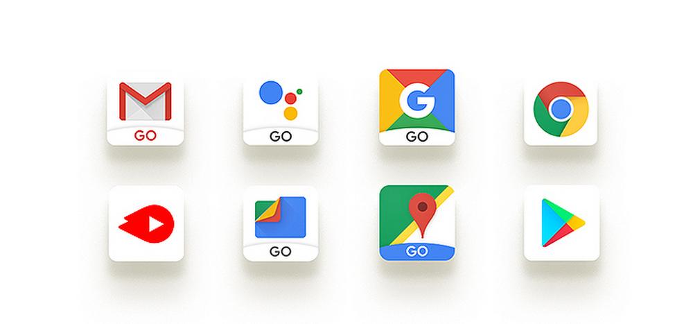 iconos de las aplicaciones Android go