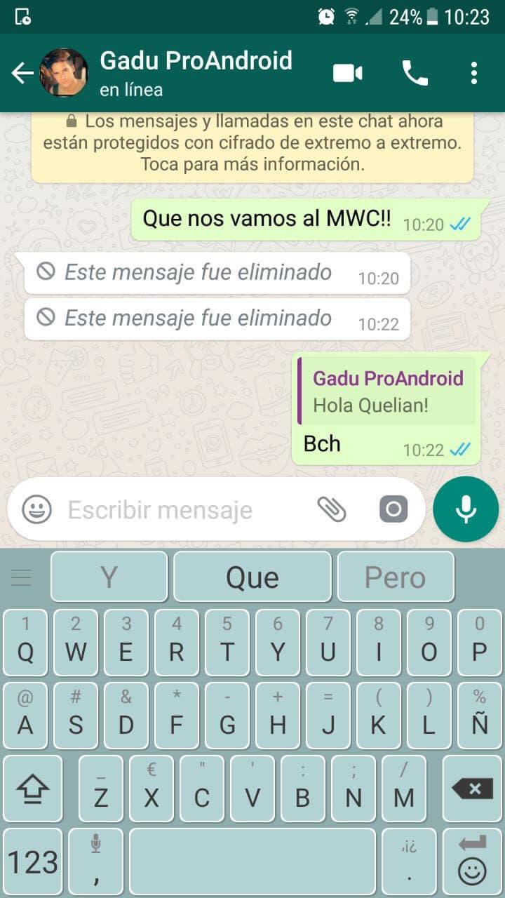 captura de WhatsApp con mensajes borrados
